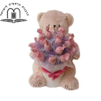 Chocolate Bear in Pink - Baby-Baskets on www.israelflorist.com