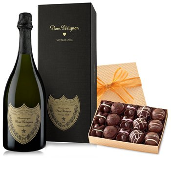 Dom Perignon and a Box of Truffles - Wine-and-Champagne on www.israelflorist.com